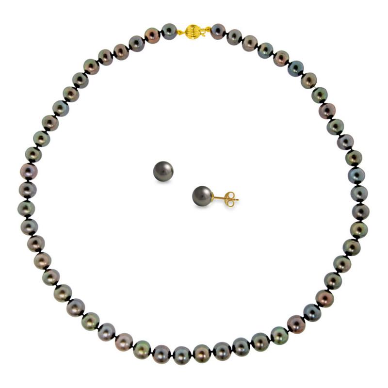 Σετ κολιέ και σκουλαρίκια με μαύρα μαργαριτάρια σε χρυσό Κ14 - M990074B