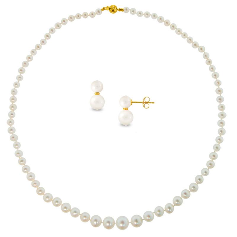 Σετ κολιέ και σκουλαρίκια με λευκά μαργαριτάρια σε χρυσό Κ14 - M990075