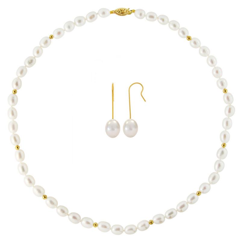 Σετ κολιέ και σκουλαρίκια με λευκά μαργαριτάρια σε χρυσό Κ14 - M990076