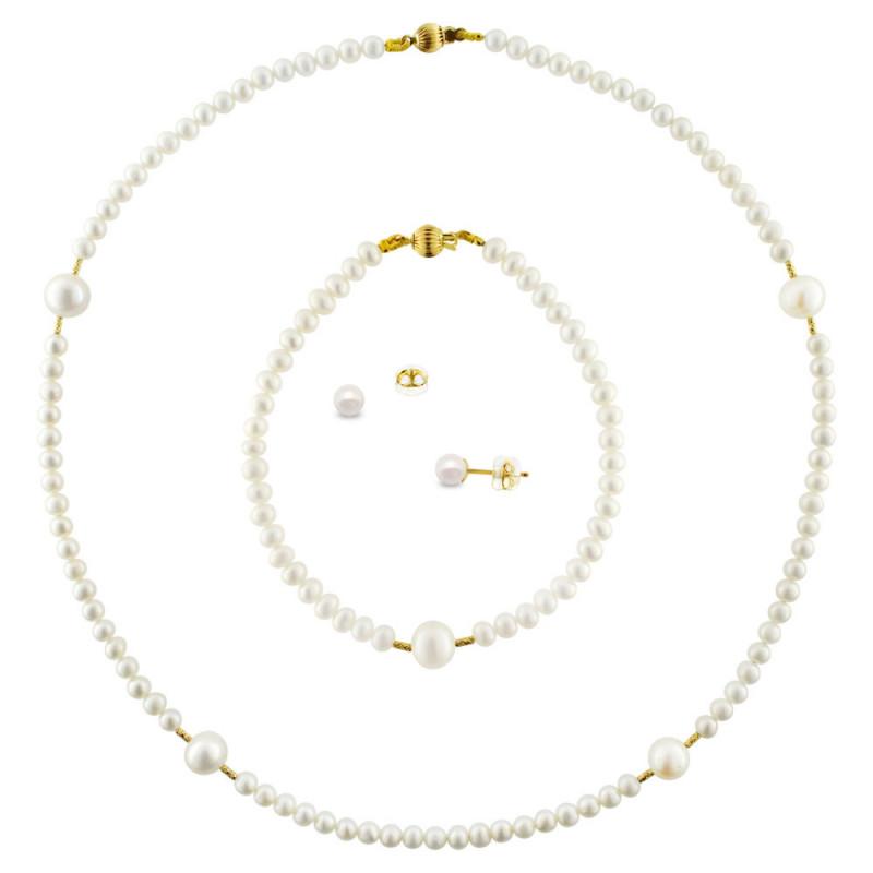 Σετ κολιέ με βραχιόλι και σκουλαρίκια με λευκά μαργαριτάρια σε χρυσό Κ18 - M990078