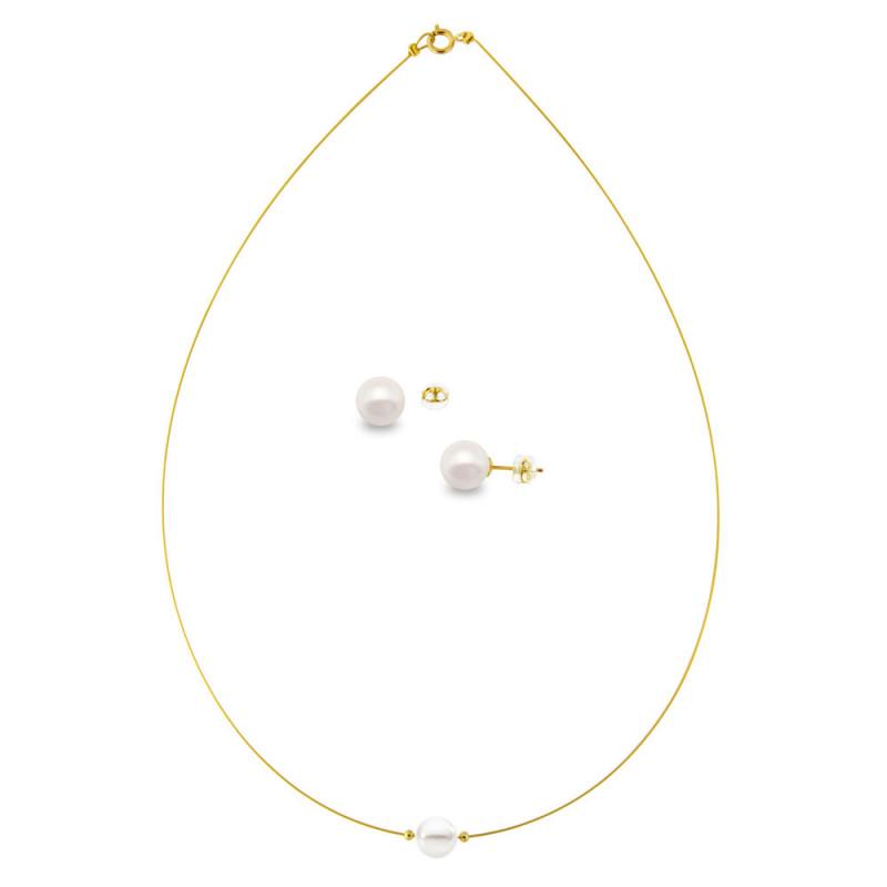 Σετ κολιέ και σκουλαρίκια με μαργαριτάρια σε χρυσό Κ14 - M990081