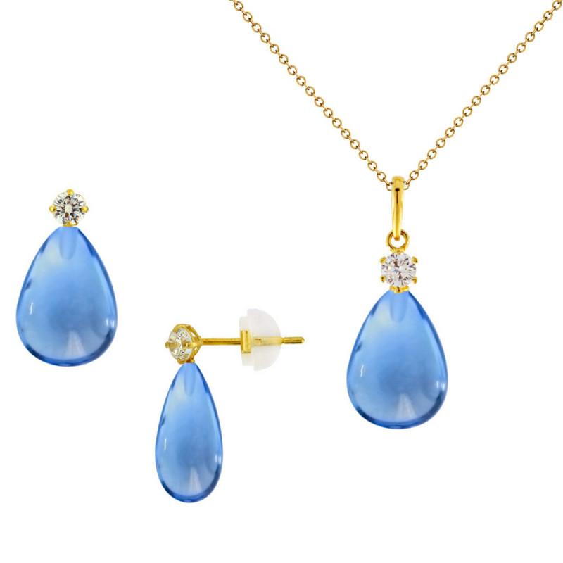 Σετ σκουλαρίκια και μενταγιόν με Blue Topaz σε χρυσό Κ14 - M990090