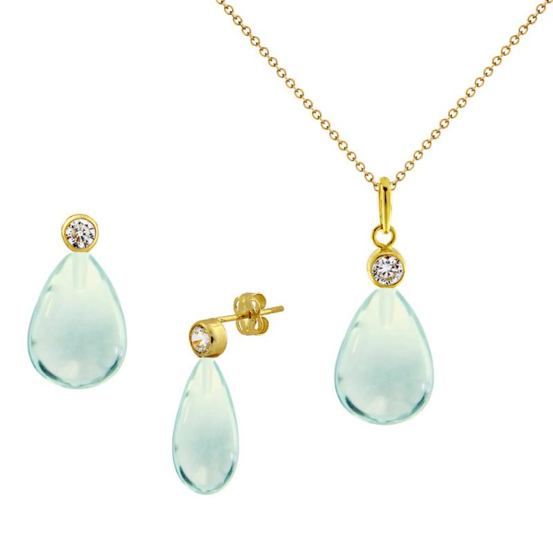 Σετ σκουλαρίκια και μενταγιόν με Aqua σε χρυσό Κ14 - M990091