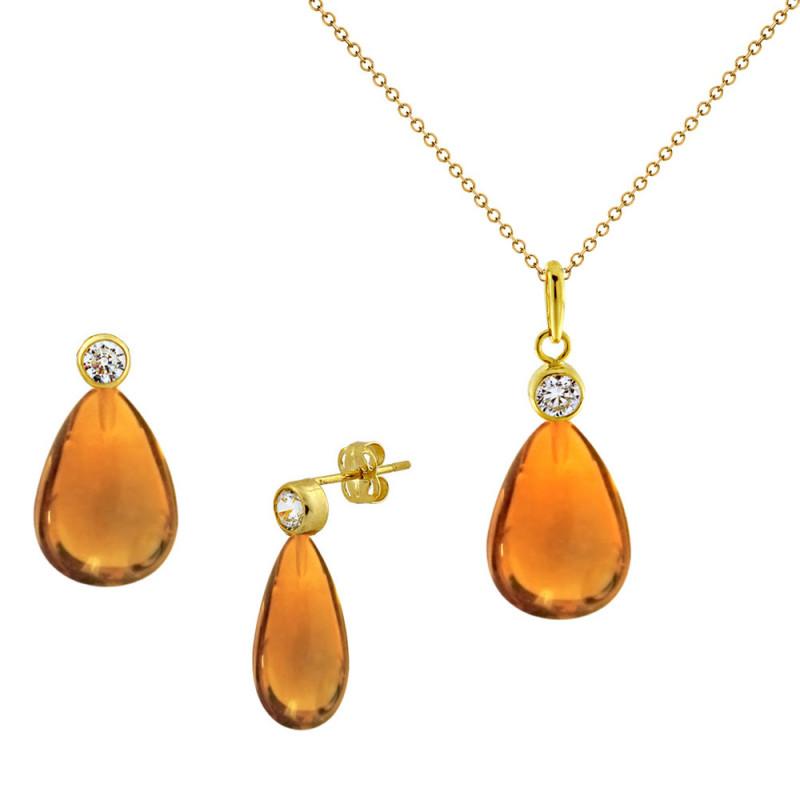 Σετ σκουλαρίκια και μενταγιόν με Citrine σε χρυσό Κ14 - M990092