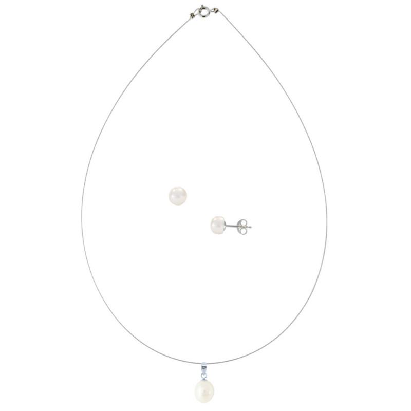 Σετ κολιέ και σκουλαρίκια με μαργαριτάρια - M990103