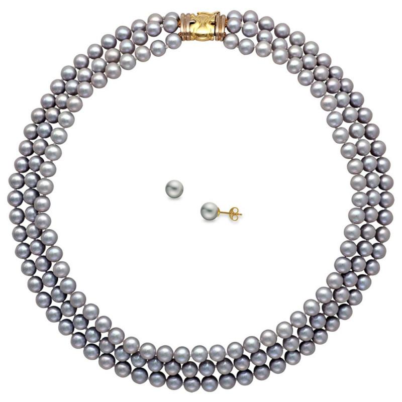 Σετ κολιέ και σκουλαρίκια με γκρι μαργαριτάρια και χρυσό κούμπωμα K14 - M990105