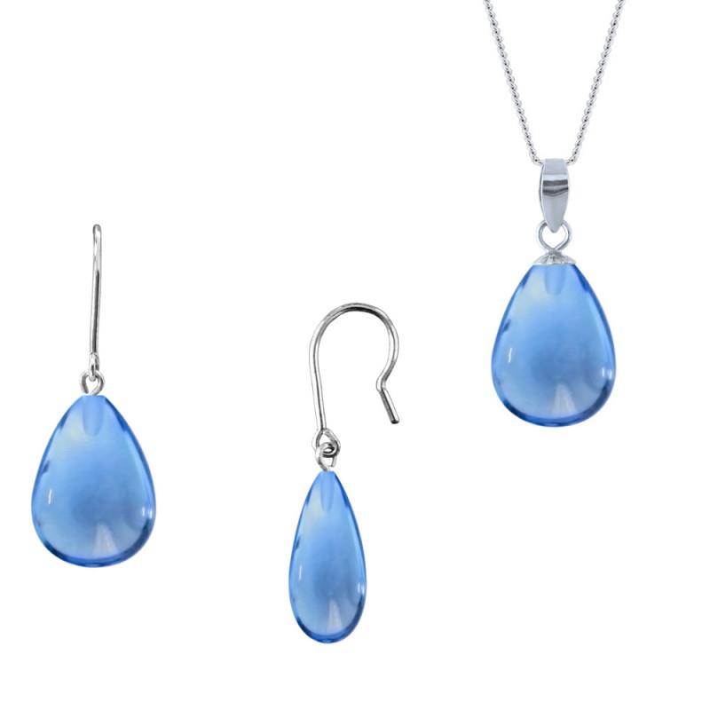 Σετ σκουλαρίκια μενταγιόν με Blue Topaz σε ασημένια βάση 925 - M990120