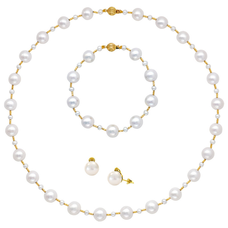 Σετ κολιέ βραχιόλι και σκουλαρίκια με μαργαριτάρια - M990127