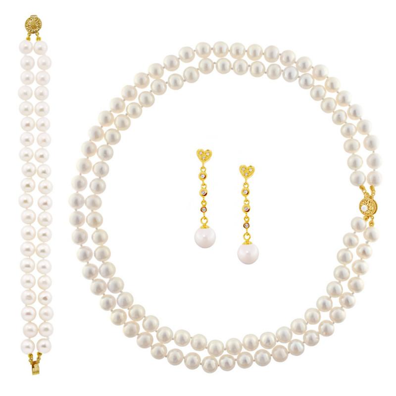 Σετ κολιέ βραχιόλι και σκουλαρίκια με μαργαριτάρια - M990128