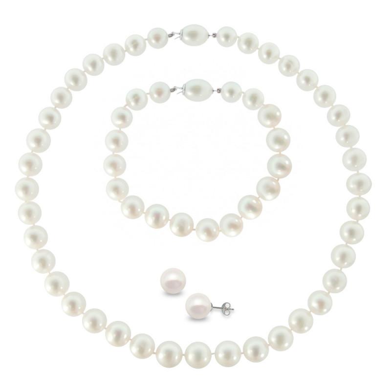 Σετ κολιέ βραχιόλι και σκουλαρίκια με μαργαριτάρια - M990129