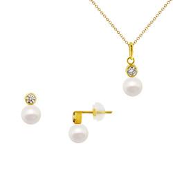 Σετ σκουλαρίκια και μενταγιόν σε Κ14 χρυσό με μαργαριτάρια - M990142