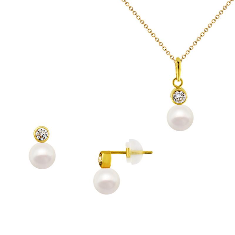 Σετ σκουλαρίκια και μενταγιόν με μαργαριτάρια σε χρυσό Κ14 - M990142