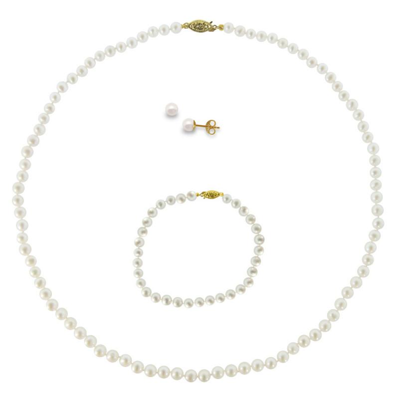 Σετ κολιέ, σκουλαρίκια και βραχιόλι με λευκά μαργαριτάρια - M990006