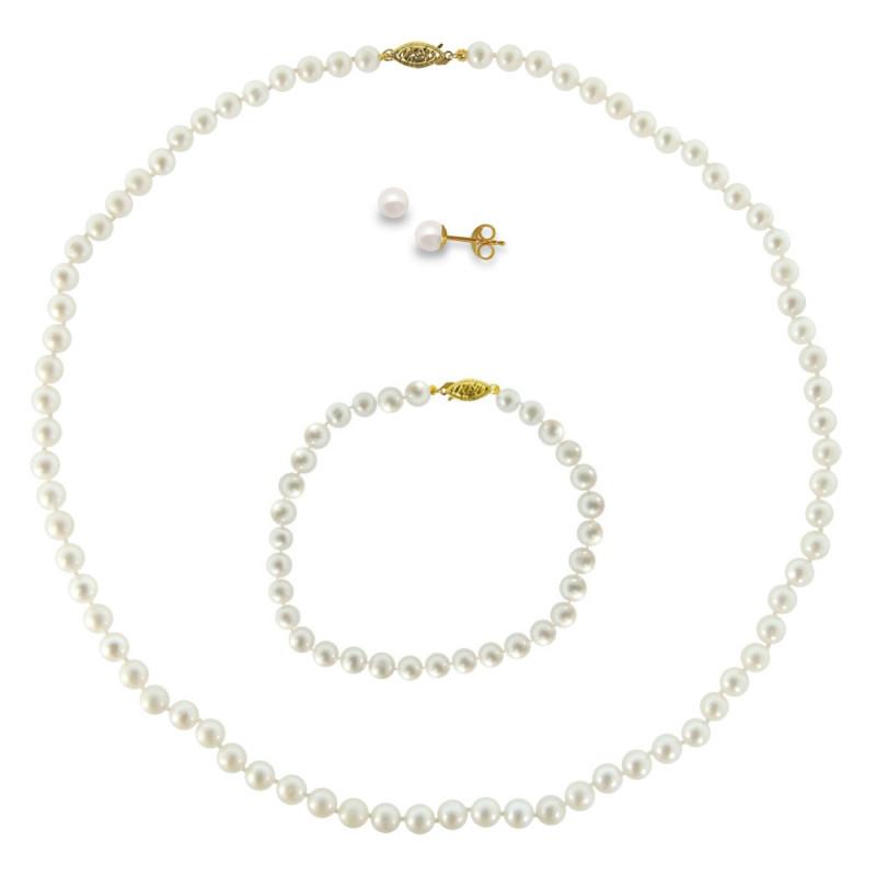 Σετ κολιέ, σκουλαρίκια και βραχιόλι με λευκά μαργαριτάρια - M990007