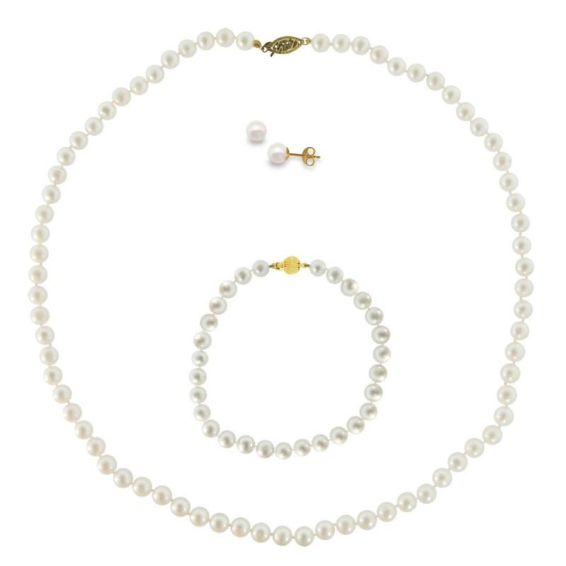 Σετ κολιέ, σκουλαρίκια και βραχιόλι με λευκά μαργαριτάρια - M990008