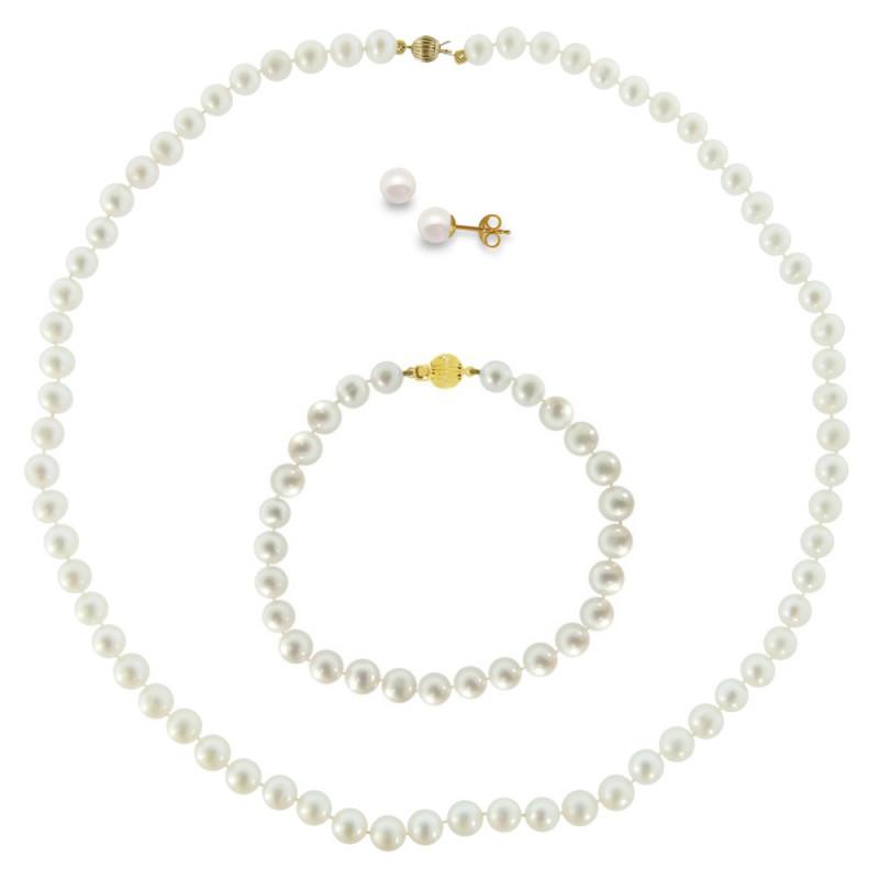 Σετ κολιέ, σκουλαρίκια και βραχιόλι με λευκά μαργαριτάρια - M990009