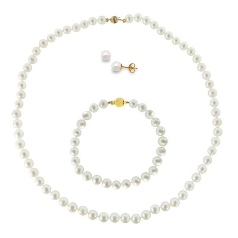 Σετ κολιέ, σκουλαρίκια και βραχιόλι με λευκά μαργαριτάρια - M990010