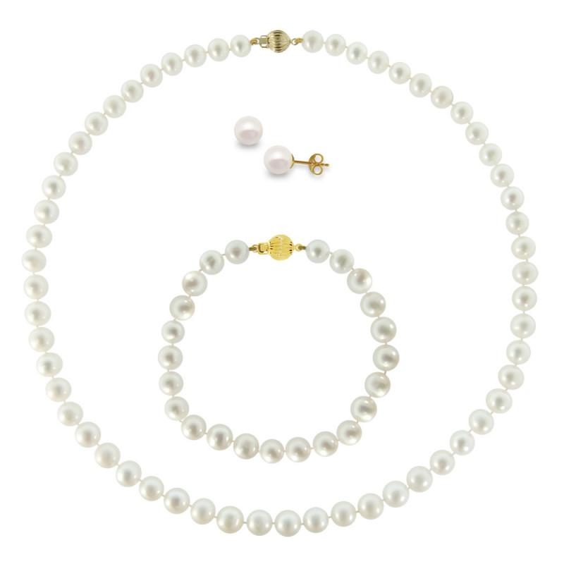 Σετ κολιέ, σκουλαρίκια και βραχιόλι με λευκά μαργαριτάρια - M990011