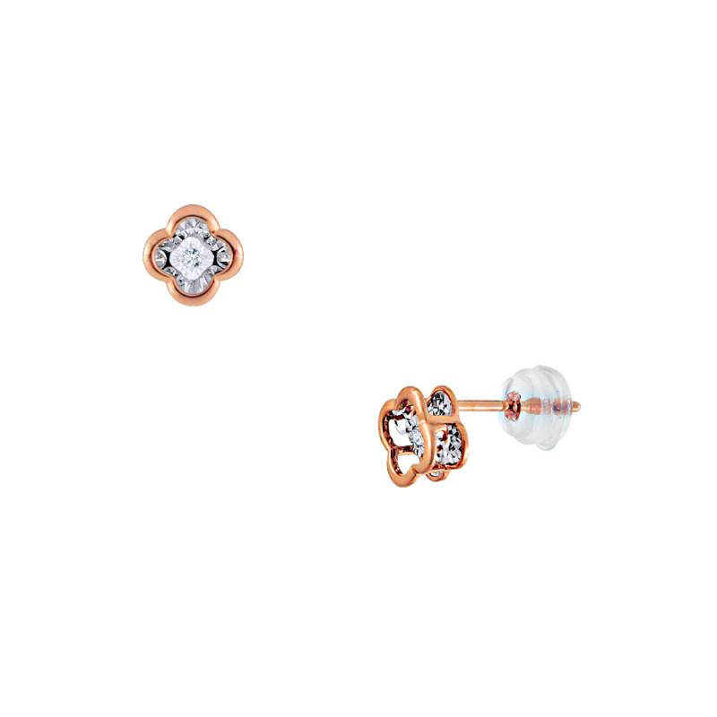Σκουλαρίκια με διαμάντια σε ροζ χρυσό Κ18 - G123458