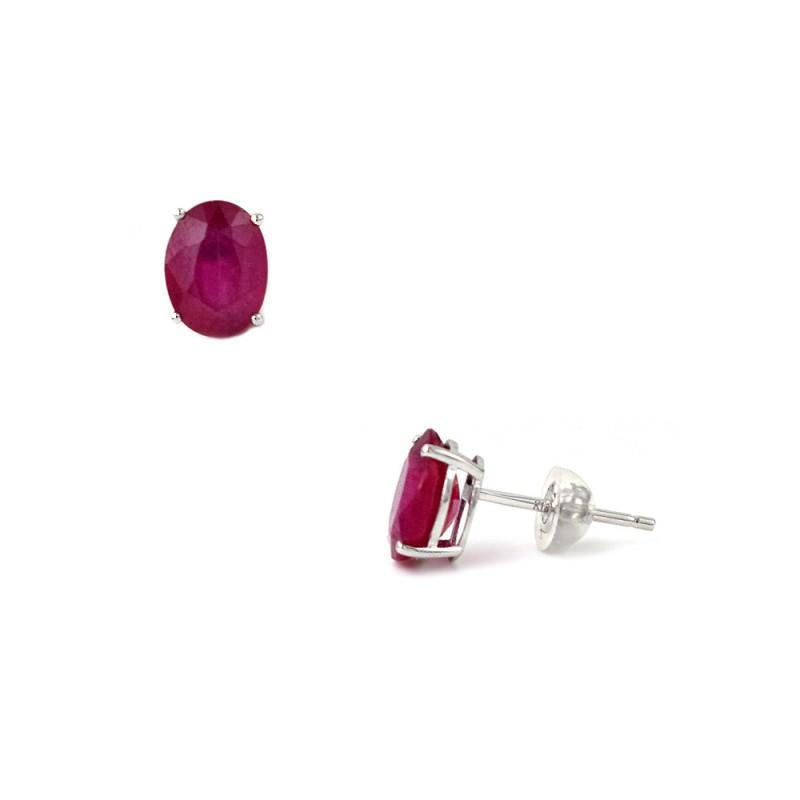 Σκουλαρίκια με ρουμπίνια και λευκόχρυσο Κ18 - G123501R
