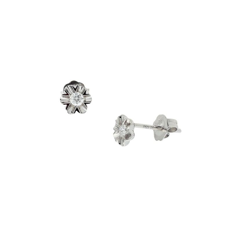 Σκουλαρίκια με διαμάντια σε λευκόχρυση βαση Κ18 - M762910