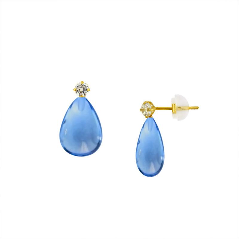 Σκουλαρίκια με Blue Topaz σε χρυσή βάση Κ14 - M123215BT