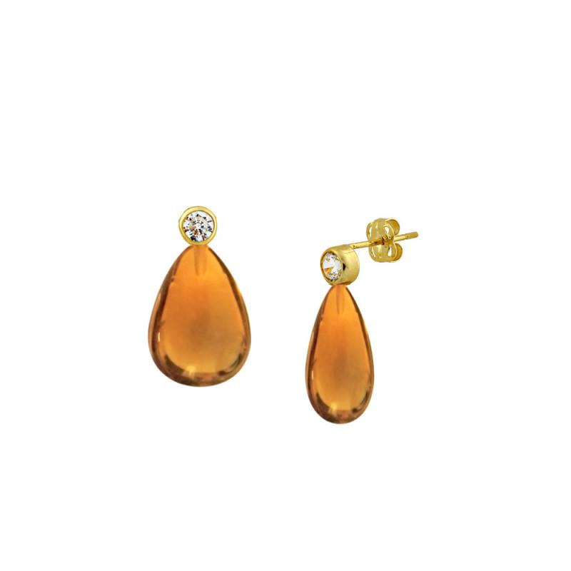 Σκουλαρίκια με Citrine σε χρυσή βάση Κ14 - M123217CT