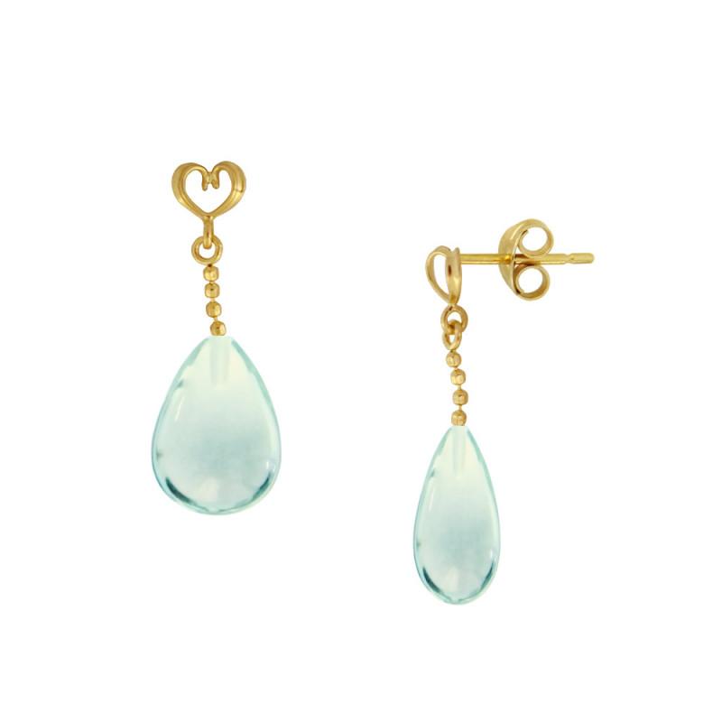 Σκουλαρίκια με Aqua σε χρυσή βάση Κ14 - M123220AQ