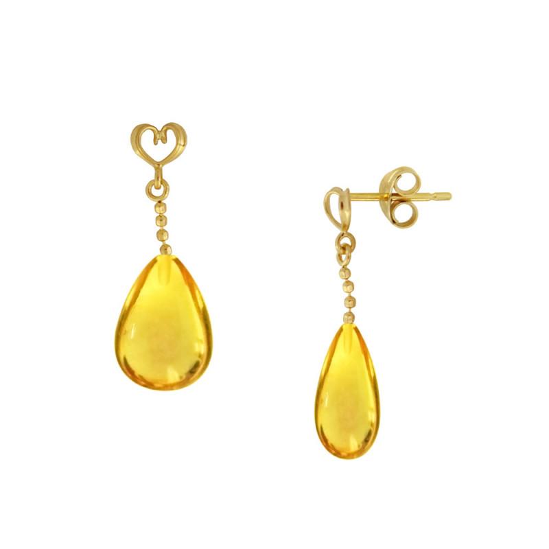 Σκουλαρίκια με Lemon Quartz σε χρυσή βάση Κ14 - M123220LQ