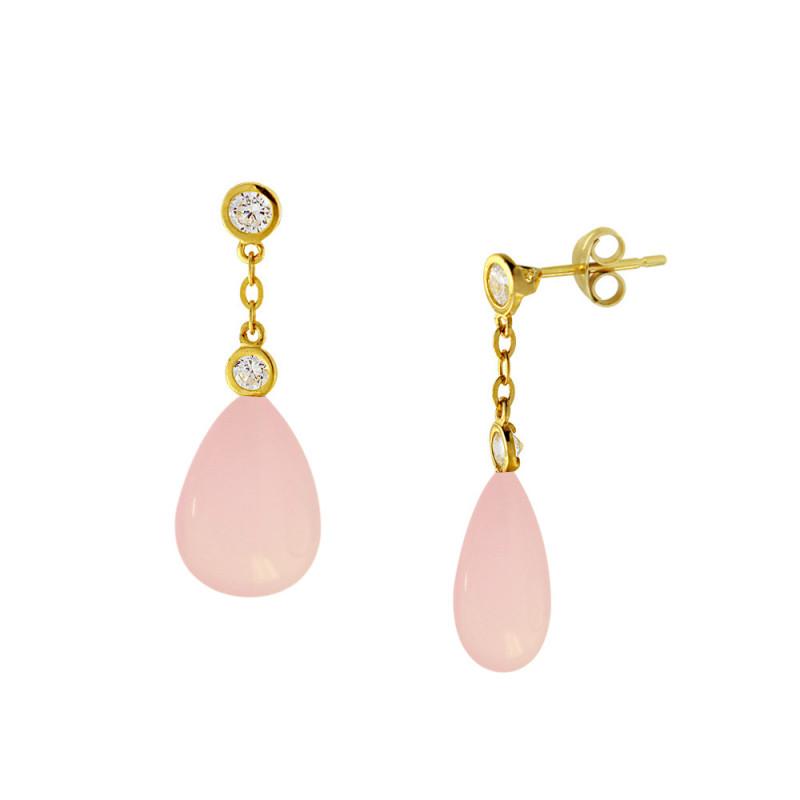Σκουλαρίκια με Pink Quartz σε χρυσή βάση Κ14 - M123221PQ