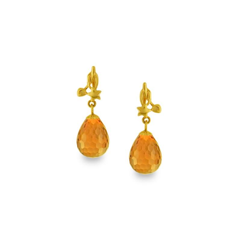 Χρυσά σκουλαρίκια με Citrine - M318658C