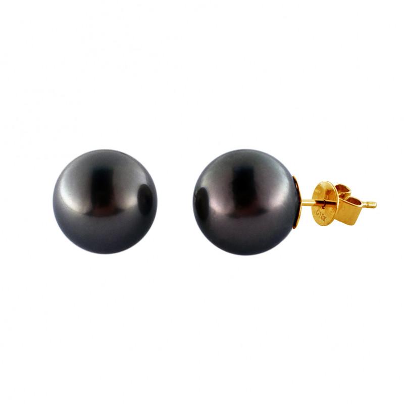 Σκουλαρίκια με μαύρα μαργαριτάρια σε χρυσή βάση Κ18 - M123092