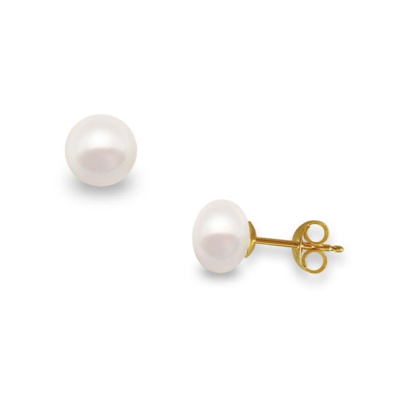 Σκουλαρίκια με λευκά μαργαριτάρια σε χρυσή βάση Κ14 - G122017