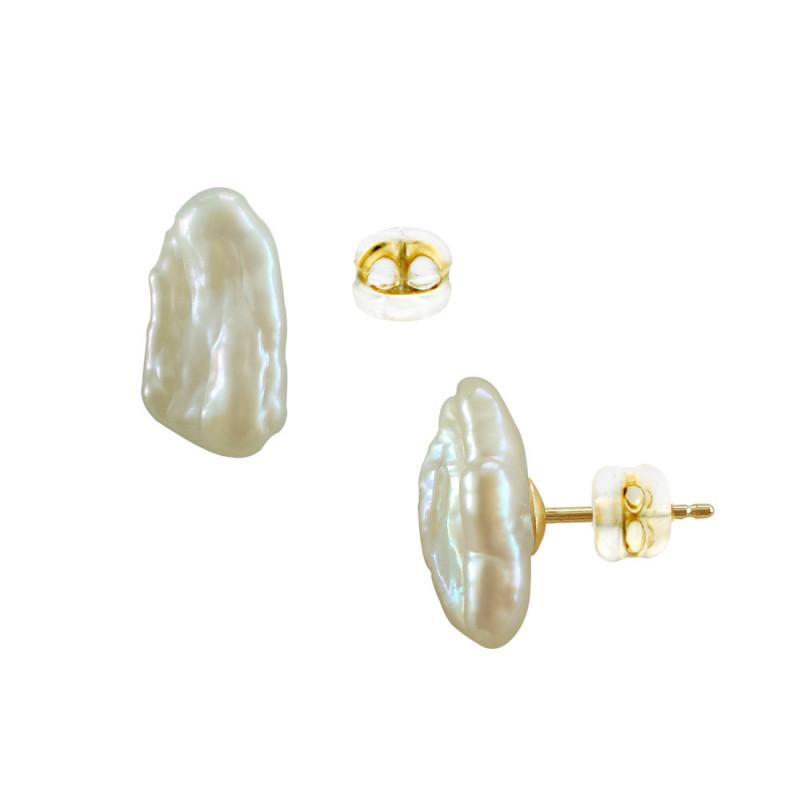 Σκουλαρίκια με λευκά μαργαριτάρια σε χρυσή βάση Κ14 - G121207S14