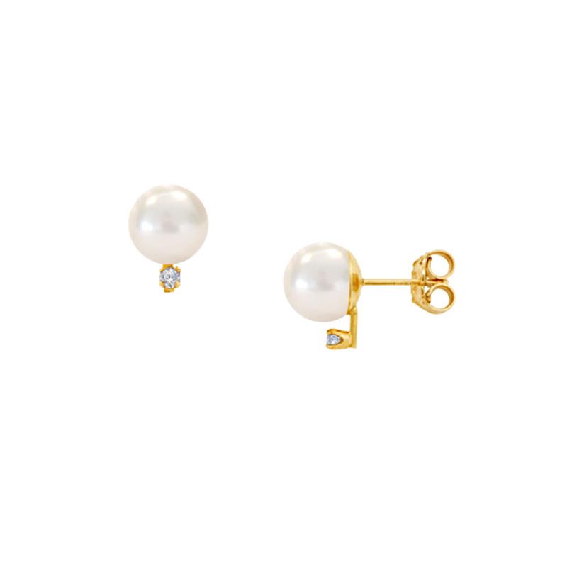 Σκουλαρίκια με λευκά μαργαριτάρια και διαμάντια σε χρυσή βάση Κ14 - G121360