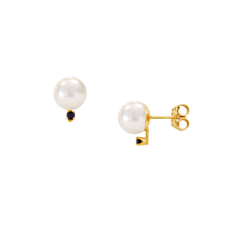 Σκουλαρίκια με λευκά μαργαριτάρια και μαύρα διαμάντια σε χρυσή βάση Κ14 - G121360B