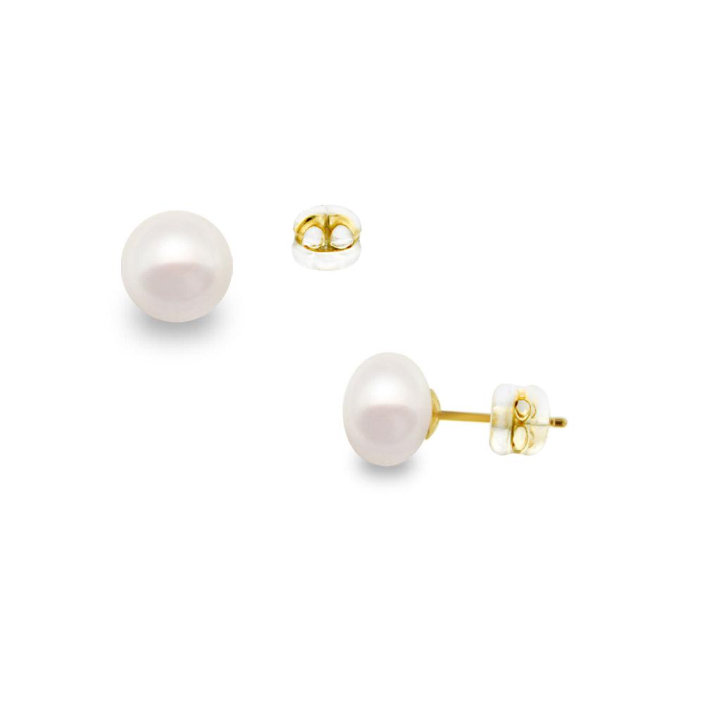Σκουλαρίκια με λευκά μαργαριτάρια σε χρυσή βάση Κ14 - G122015S14 6e527f3968f
