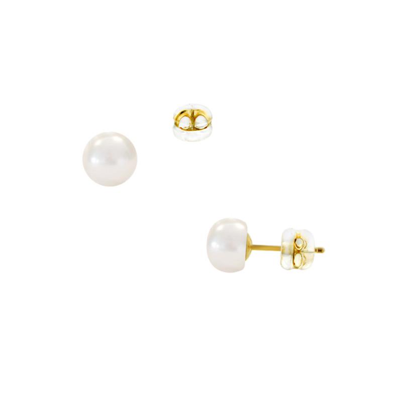 Σκουλαρίκια με λευκά μαργαριτάρια σε χρυσή βάση Κ14 - G122015S14