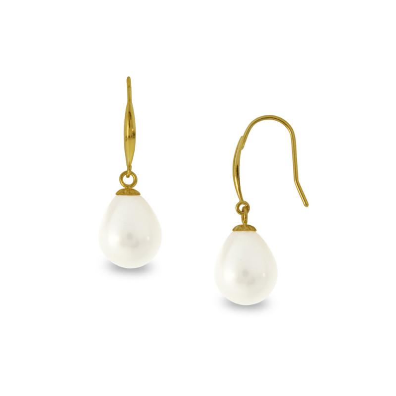 Σκουλαρίκια με λευκά μαργαριτάρια σε χρυσή βάση Κ18 - G122332
