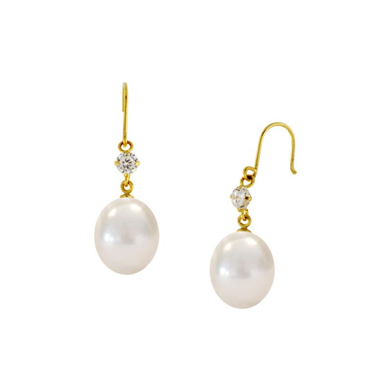 Σκουλαρίκια με λευκά μαργαριτάρια και ζιργκόν σε χρυσή βάση Κ14 - G122687