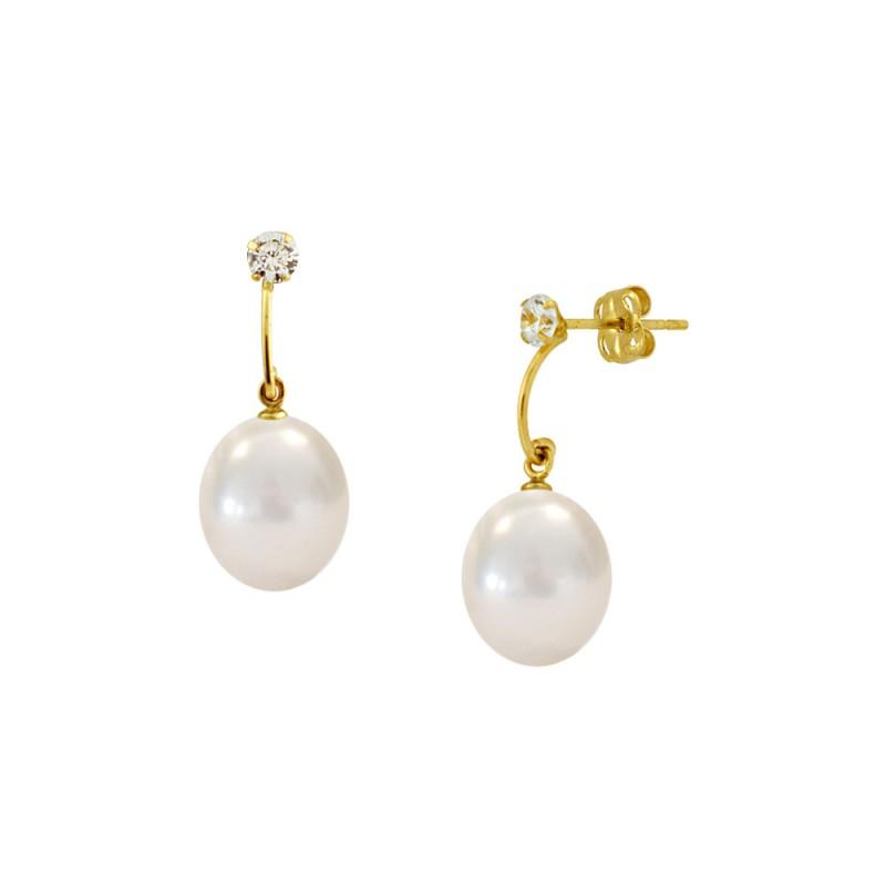 Σκουλαρίκια με λευκά μαργαριτάρια και ζιργκόν σε χρυσή βάση Κ14 - G122688