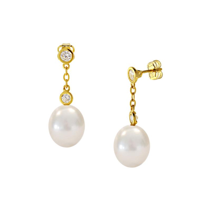 Σκουλαρίκια με λευκά μαργαριτάρια και ζιργκόν σε χρυσή βάση Κ14 - G122689