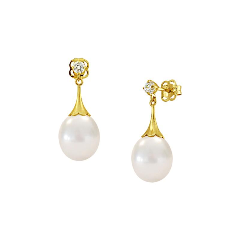 Σκουλαρίκια με λευκά μαργαριτάρια και ζιργκόν σε χρυσή βάση Κ14 - G122690