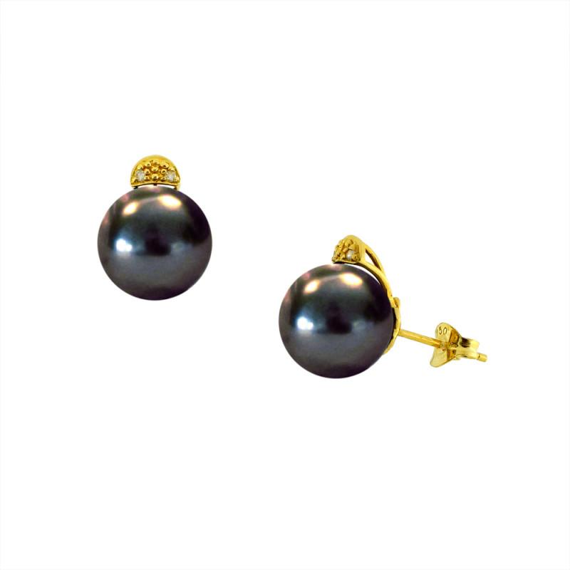Σκουλαρίκια με μαύρα μαργαριτάρια και διαμάντια σε χρυσή βάση Κ18 - G122737B