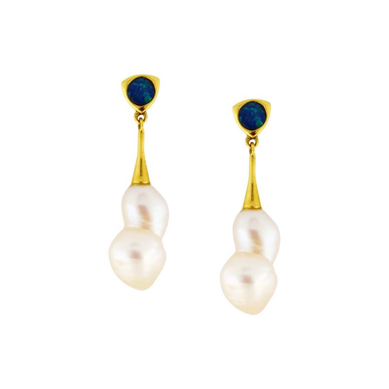 Σκουλαρίκια με λευκά μαργαριτάρια σε χρυσή βάση Κ14 - G303448