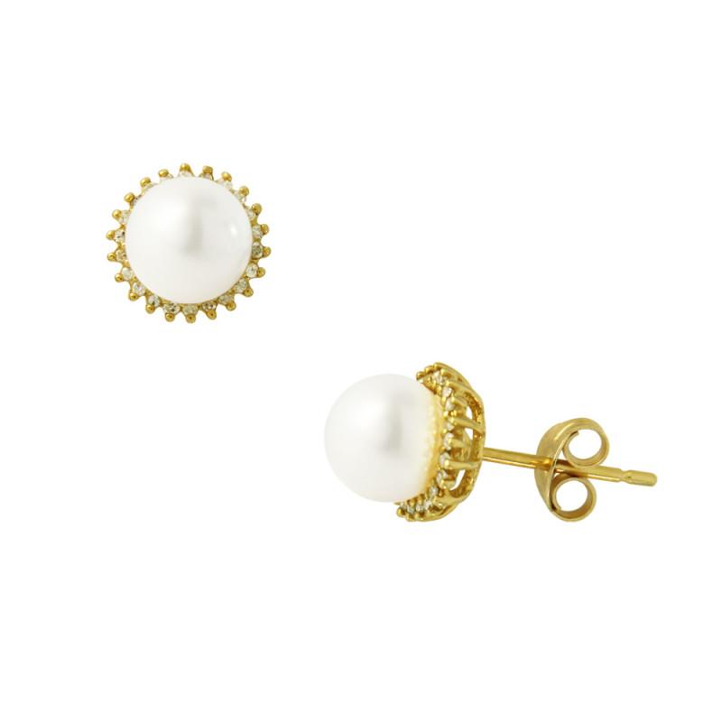 Σκουλαρίκια με λευκά μαργαριτάρια και διαμάντια σε χρυσή βάση Κ18 - G317607