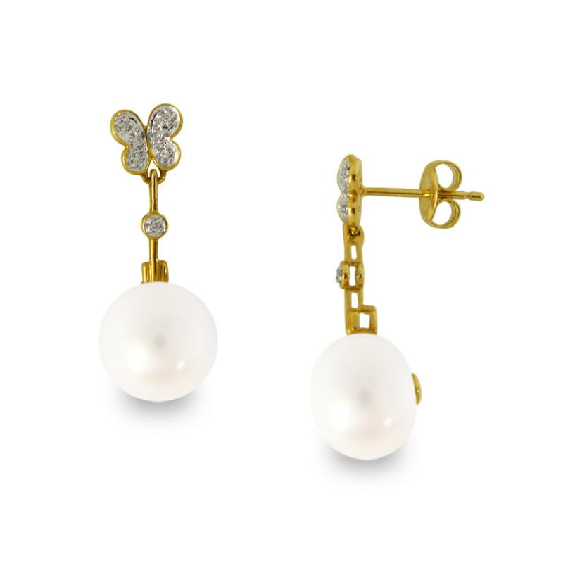 Σκουλαρίκια με λευκά μαργαριτάρια και διαμάντια σε χρυσή βάση Κ18 - G318435
