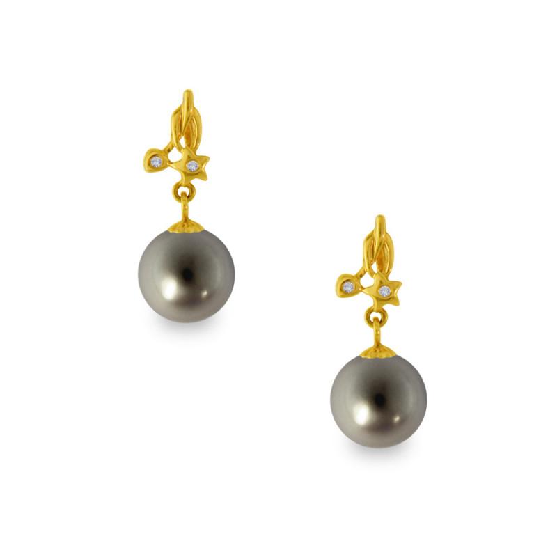 Σκουλαρίκια με μαύρα μαργαριτάρια σε χρυσή βάση Κ18 - G318820B