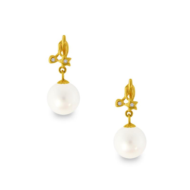 Σκουλαρίκια με λευκά μαργαριτάρια σε χρυσή βάση Κ18 - G318820