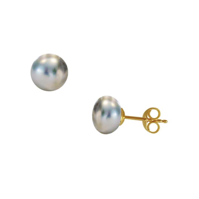 Σκουλαρίκια με μαύρα μαργαριτάρια σε χρυσή βάση Κ14 - G418944B
